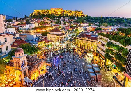 Athens, Greece -  Night Image With Athens From Above, Monastiraki Square And Ancient Acropolis.