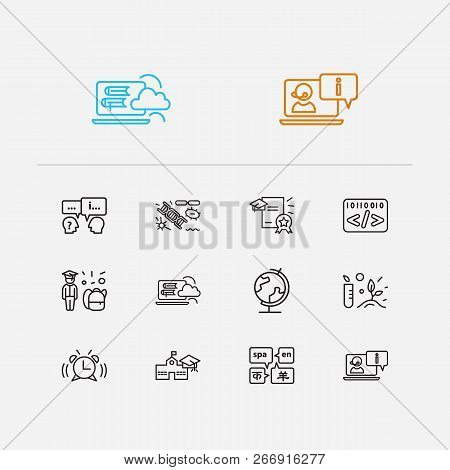 Distant education icons set. Botany and distant education icons with informatics, question with answer and online consultation. Set of chemistry for web app logo UI design. poster