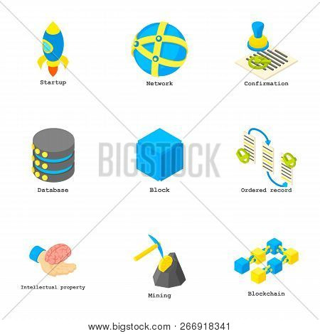 Coin Mining Icons Set. Isometric Set Of 9 Coin Mining Vector Icons For Web Isolated On White Backgro