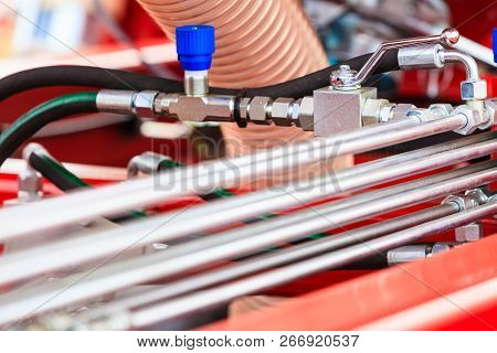 Pneumatic, Hydraulic Machinery Made Of Steel Closeup