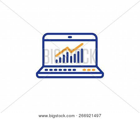 Data Analysis And Statistics Line Icon. Report Graph Or Chart Sign. Computer Data Processing Symbol.