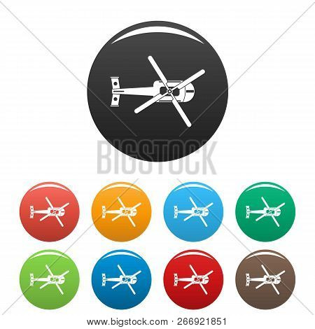 Top View Helicopter Icons Set 9 Color Vector Isolated On White For Any Design