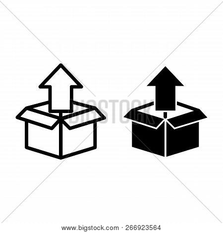 Unpacking Line And Glyph Icon. Box With Up Arrow Vector Illustration Isolated On White. Unboxing Out