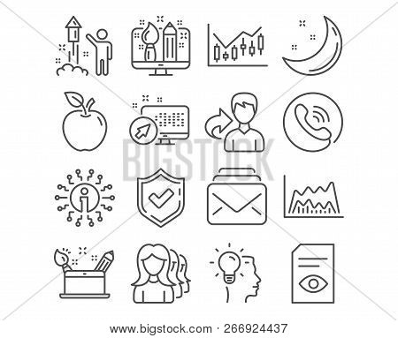 Set Of Idea, Fireworks And Mail Icons. Creativity Concept, Creative Design And Trade Chart Signs. Wo