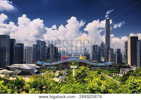 Shenzhen, China. May 26, 2018.  The Shenzhen City Skyline And Civic Center As Seen From Lianhuashan