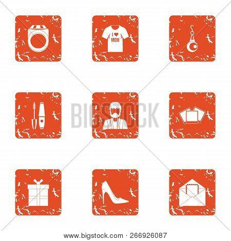 Enjoy Icons Set. Grunge Set Of 9 Enjoy Vector Icons For Web Isolated On White Background