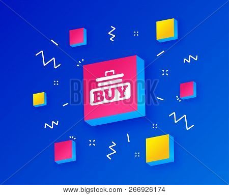 Buy Sign Icon. Online Buying Cart Button. Isometric Cubes With Geometric Shapes. Creative Shopping B