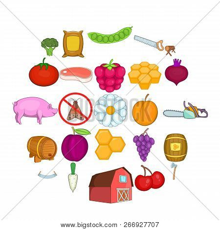 Rural Economy Icons Set. Cartoon Set Of 25 Rural Economy Vector Icons For Web Isolated On White Back