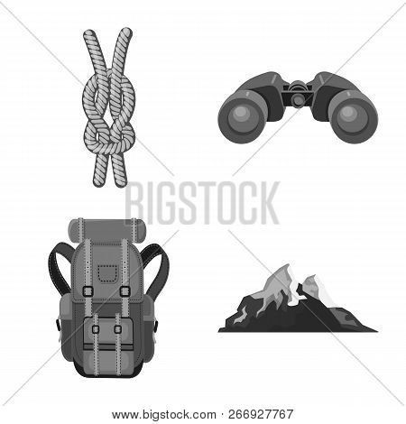 Vector Design Of Mountaineering And Peak Sign. Set Of Mountaineering And Camp Stock Vector Illustrat