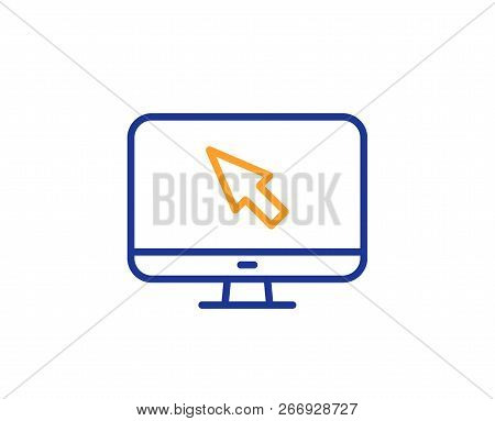 Computer Or Monitor Icon. Mouse Cursor Sign. Personal Computer Symbol. Colorful Outline Concept. Blu