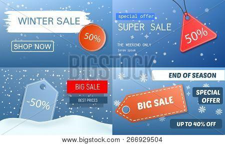 Final Winter Sale Banner Set. Realistic Illustration Of Final Winter Sale Vector Banner Set For Web