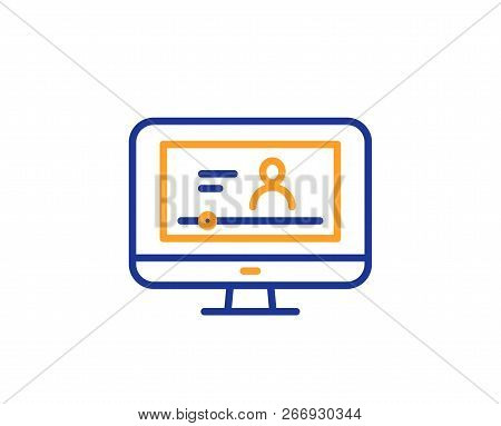Online Video Education Line Icon. Computer With Online Lecture Sign. Web Player Symbol. Colorful Out