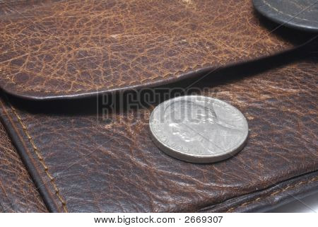 Part Of Ragged Purse Wit Cent Coin