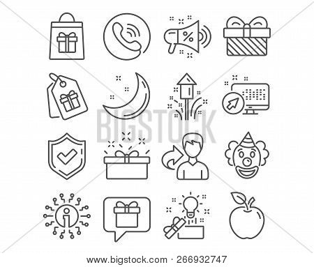 Set Of Sale Megaphone, Coupons And Holidays Shopping Icons. Creative Idea, Wish List And Present Box