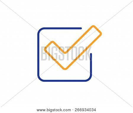 Check Line Icon. Approved Tick Sign. Confirm, Done Or Accept Symbol. Colorful Outline Concept. Blue