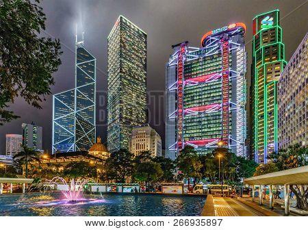 Hong Kong, China - January 25, 2016: Hong Kong Night Cityscape Of Central Region With Bank Of China