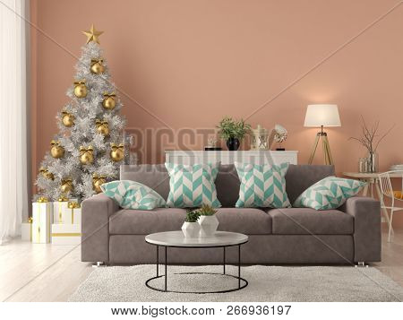 Interior of modern living room with christmas tree 3D rendering