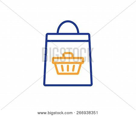 Shopping Bag With Cart Line Icon. Supermarket Buying Sign. Sale Symbol. Colorful Outline Concept. Bl
