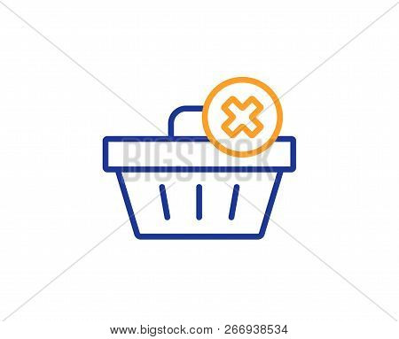 Remove Shopping Cart Line Icon. Online Buying Sign. Supermarket Basket Symbol. Colorful Outline Conc