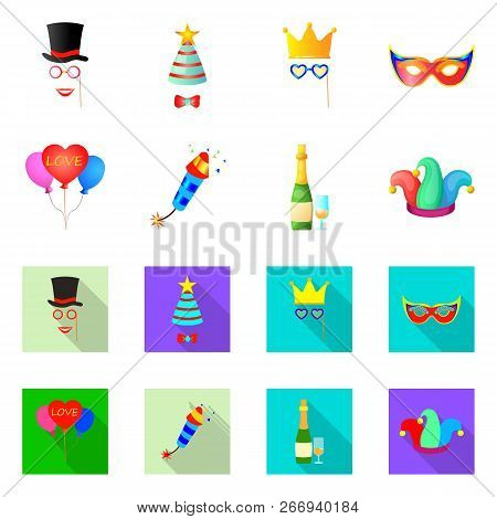 Vector Illustration Of Party And Birthday Icon. Collection Of Party And Celebration Vector Icon For
