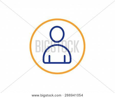 User Line Icon. Profile Avatar Sign. Person Silhouette Symbol. Colorful Outline Concept. Blue And Or