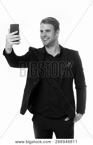 Happy To See You. Business Man Smartphone Video Conferencing Isolated White. Businessman Smiling Fac