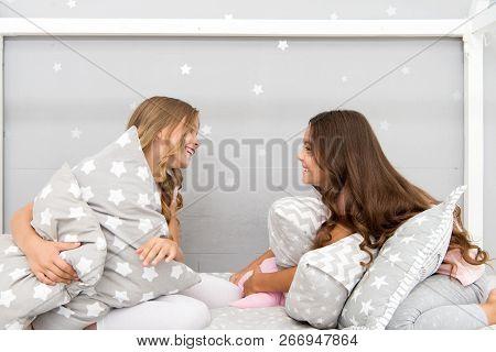 Sleepover Time For Pillow Fight. Girls Sleepover Party Ideas. Soulmates Girls Having Fun Sleepover P