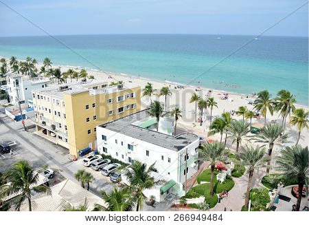Scenic Aerial View Of Hollywood Beach, Florida Looking East