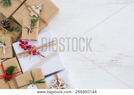 Christmas Background - Handmade Present Gift Boxes With Tag For Merry Christmas And New Year Holiday