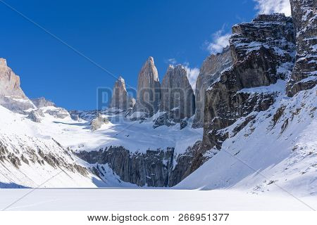 View Of Granite Towers At Mirador Las Torres In Torres Del Paine National Park Of Chile