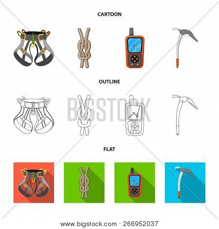 Isolated Object Of Mountaineering And Peak Symbol. Collection Of Mountaineering And Camp Vector Icon
