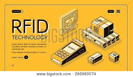 Rfid Technology For Delivery Tracking Isometric Vector Web Banner. Electromagnetic Track Tag On Carg