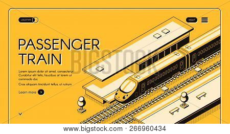 Passenger Train Isometric Vector Web Banner. High-speed Express Train On Railroad Station, Line Art
