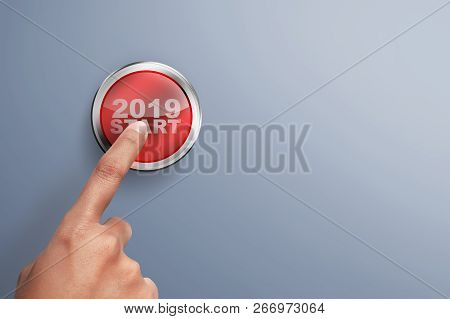 Male Hands Push The Button. Ready To New Year 2019. Happy New Year 2019