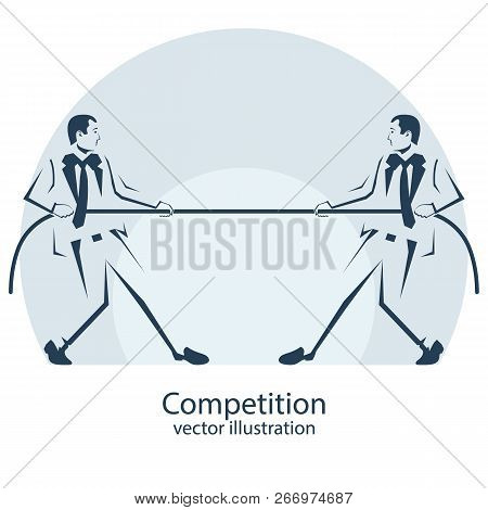 Competition Icon. Business People Silhouette. Businessmen In Suit Pull The Rope, Symbol Of Rivalry,