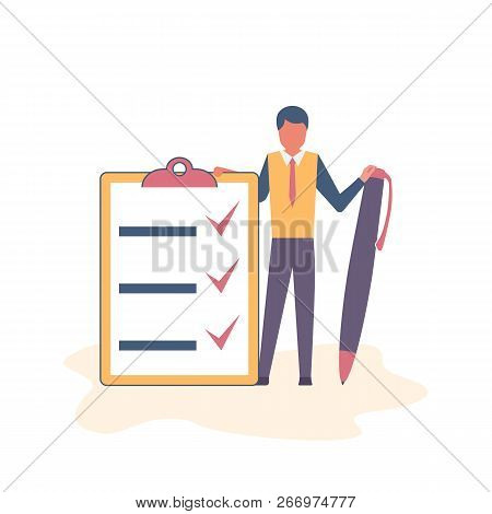 Successful Execution Of Tasks From The To Do List. Positive Businessman With Pen And Clipboard. Comp