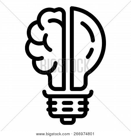 Brain Bulb Icon. Outline Brain Bulb Vector Icon For Web Design Isolated On White Background