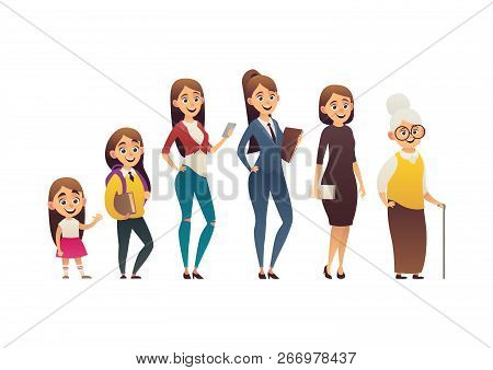 Character Of Woman In Different Ages Generation Of People And Stages Of Growing Up Vector