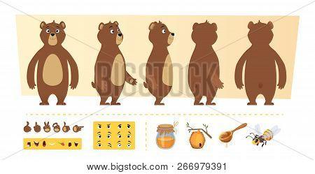 Cartoon Bear Animation. Cute Wild Animal Body Parts And Nature Items Honey Trees Vector Character Cr