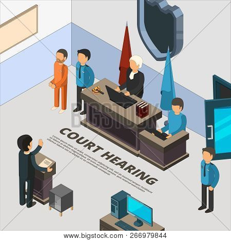Court Session Banners. Law Process In Judicial Defendant Police And Crime Interrogation Isometric Sy
