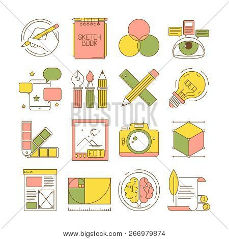 Design process icons. Packing art creative web products and services blogging retouch stationary vector flat pictures. Tools stationary, modeling and editor, pen and ruler illustration poster