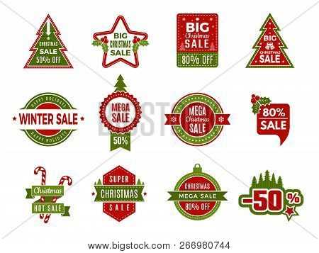 Winter Holiday Sales. Christmas Badges Or Labels Retail Discount Deals Holidays Special Offers Of Ne