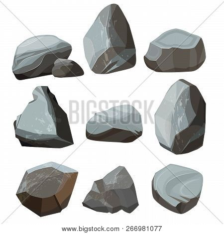 Colored Cartoon Stones. Granite Large And Small Rocky Gravels And Boulders Vector Colored Pictures.