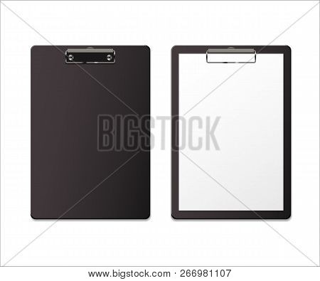 Realistic Clipboard Set. Vector Empty Clipboard And Clipboard With Paper.