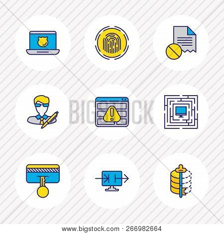 Vector Illustration Of 9 Protection Icons Colored Line. Editable Set Of Access Denied, Author Rights