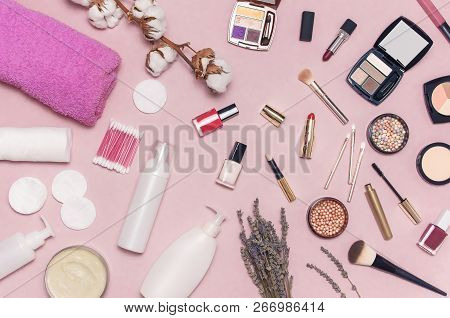 Make-up Remover Accessories. Flat Lay Background With Cotton Branch, Cotton Pads, Ear Sticks, Cosmet