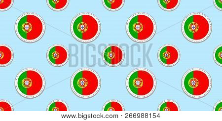 Portugal round flag seamless pattern. Portuguese background. Vector circle icons. Geometric symbols. Texture for sports pages, competition, games, travelling design elements. patriotic wallpaper. poster