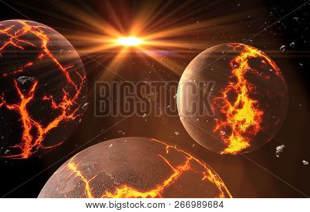 Planets And Galaxy, Cosmos,  Physical Cosmology, Science Fiction Wallpaper. Beauty Of Deep Space. Bi