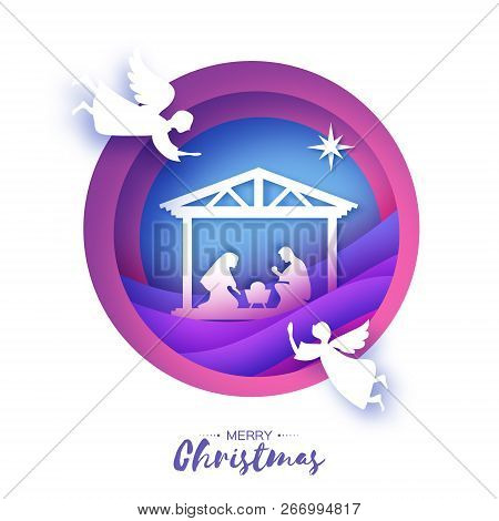 Birth Of Christ. Baby Jesus In The Manger. Holy Family. Magi. Three Wise Kings And Star Of Bethlehem