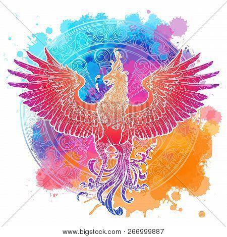 Mythycal Bird Phoenix. Samsara Wheel On A Background. Sycle Of Life And Death, Symbol Of Rebirth. Ta